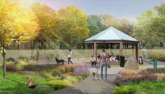 A mock-up of the Dog Park design