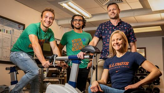 Researchers, including, from left, graduate students Alex Keeble and Rafael Alamilla, kinesiology and community health professor Nicholas Burd and graduate student Susannah Scaroni, found that potatoes boost athletic performance as well as commercial gels.