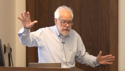 David Pisoni giving animated lecture
