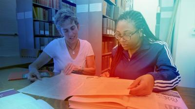 Image of a researcher and student collaborating
